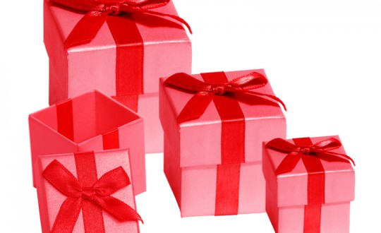 Four Red Gift Boxes